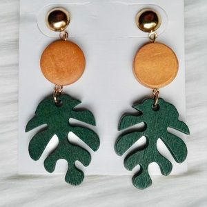 Gold Wood Green Leaf Drop Post Earrings